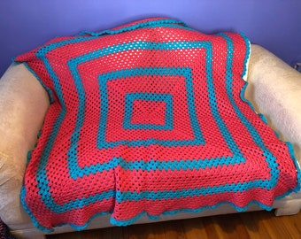 Coral and Blue Couch Cuddle Blanket