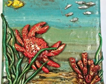 Nautical Wall Decor-Nautical Wall Art- Coastal Wall Decor -  Ocean Art - Crab