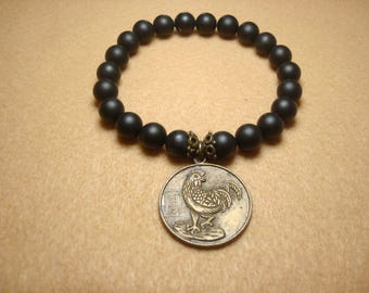 Bracelet for anyone,Year of the Rooster Chinese charm,2017 Being constant, Black onyx beads,grounding beads