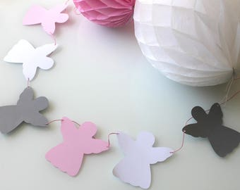 6 angels in gray - paper - Garland-pink and white waxed cotton pink