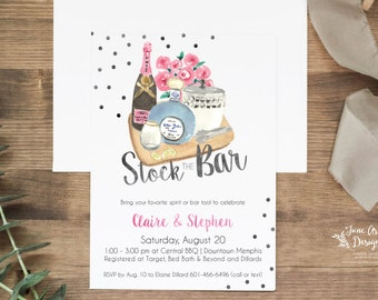 """Stock the Bar Invitation   DIY Printable or Printed+Shipped  Watercolor Invitation   Couple's Shower   Bar Party   5x7""""   Housewarming"""
