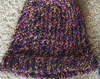 Purple Multicolor Knit Hat