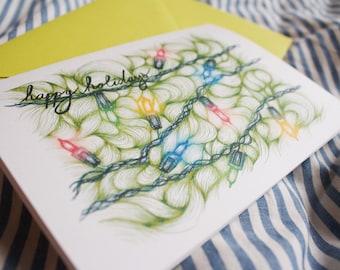 Holiday Lights | Hand-drawn illustration | Blank Holiday card