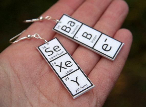 Sexy babe earrings periodic table earrings gift for chemist like this item urtaz Gallery