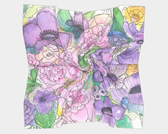 Peony & Poppy Floral Square Scarf
