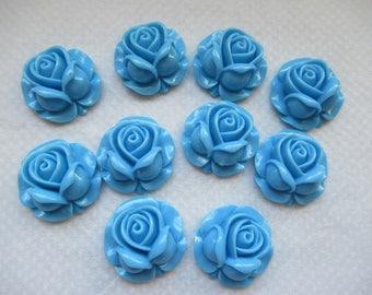 CAMEES ROSES BLEUES lot de 10 camées roses fleurs en résine couleur bleue  pour créations  a coller sur tous supports