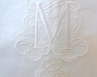 "Embroidered ""M"" Monogram Guest Towel in white with  Gallucci Border/Free shipping in US"