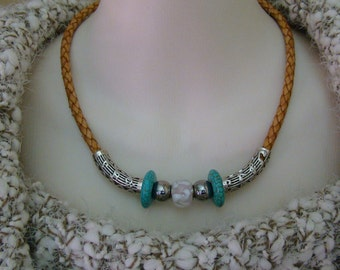 Magnasite and White Leather Choker
