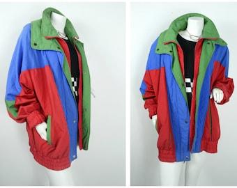 90s 80s London Fog primary color block red blue green windbreaker parka jacket coat
