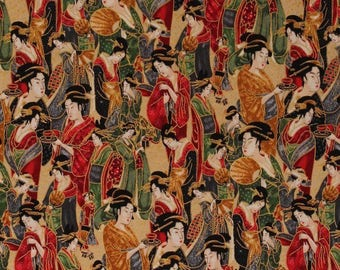 Asia Japanese Fabric, Geisha Fabric:  Robert Kaufman Japanese Geisha Kimono Imperial 100% cotton Fabric by the yard (RK80)