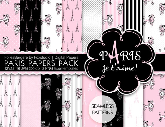 Paris Digital Paper Pack Je T'aime Paris Backgrounds Black