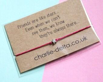 Friendship bracelet - long distance friendship - wish bracelet - friendship gifts - heartfelt quotes - best friends