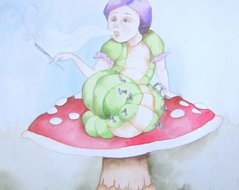 Whimsical wall art original watercolor painting- I'ma Smokin'
