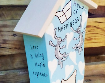 "Jewelry box/Storage box for your favoriite things /Storage box for sweets/Box-house of Happiness ""Happy forever"""