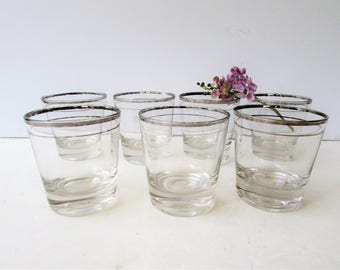 Mid Century Barware -Set of 7 Silver Rimmed Rocks Glasses - Low Ball Glasses - Whiskey Glasses - Silver Banded Cocktail Glasses