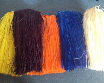 """Authentic Hau Or Fau Grass Skirting/Fringes. Strung Of 3"""" Wide x 20"""" Long. For Making Polynesian Costumes, Hip Hei, Headpiece, Belt, Bra Top"""