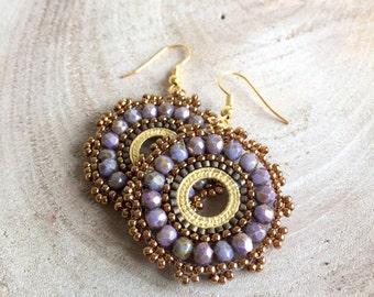 Crystal Hoop Earrings,Miyuki Bead Earrings,Beadwork Earrings,Beaded Earrings,Sead Bead Earrings,Copper Earrings,Gold Earrings,Boho earrings