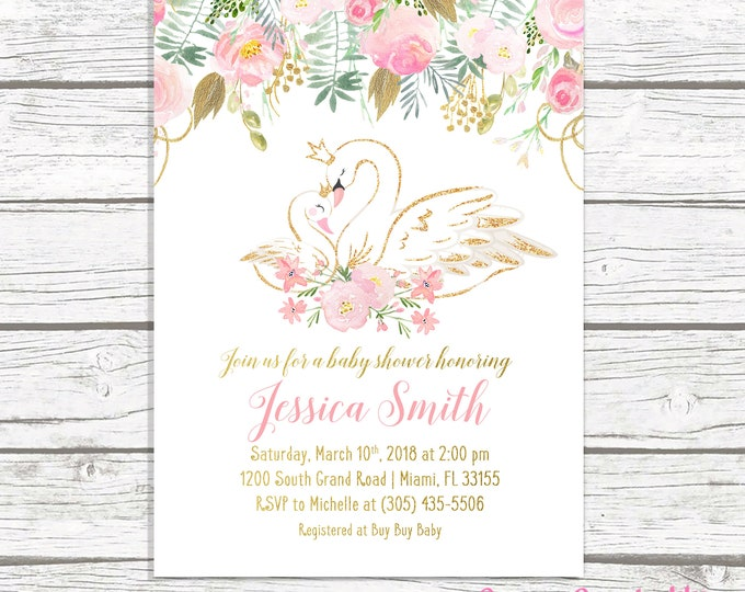 Swan Baby Shower Invitation, Swan Invitation, Swan Princess Baby Shower, Pink and Gold Baby Shower Invitation, Girl Baby Shower