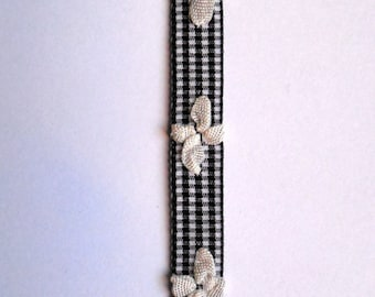 Bow tie french ribbon white bows on black and white tiny gingham tape