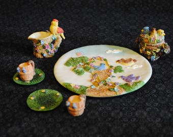 Unmarked Birds in their Bird house Miniature Mini Tea Set- 8 pieces