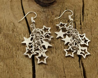 Silver star earrings, dangly star earrings, dangle drop earrings, cluster jewelry, silver star bead earrings, star cluster earrings, stars