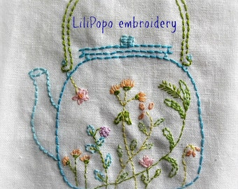 tea time hand embroidery pattern