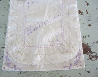 Vintage Cotton Handkerchief Holder White with Lavender Embroidery with Lace Pocket Style