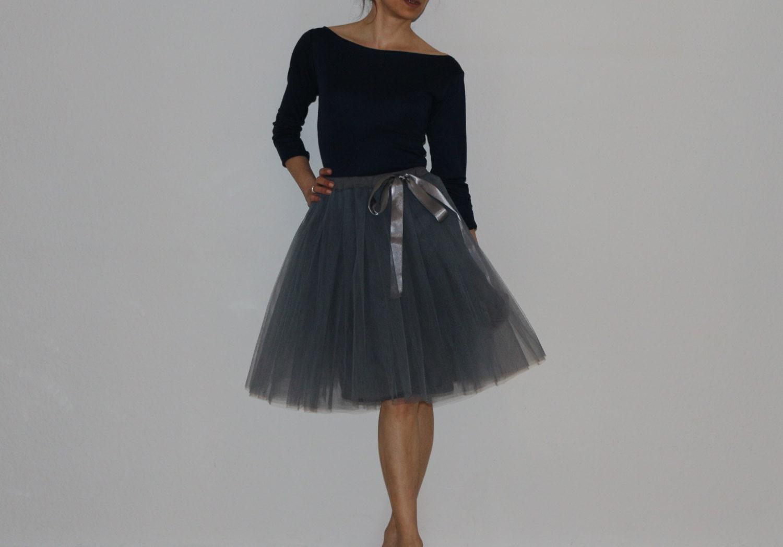 Tulle petticoat Light Anthracite-dark grey 55 cm skirt