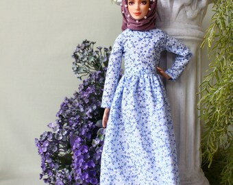 Handmade muslim classy blue vintage flower dress with pearls hijab and pin for muslim barbie doll ,fullla and barbie.EID gift .FREE SHIPPING