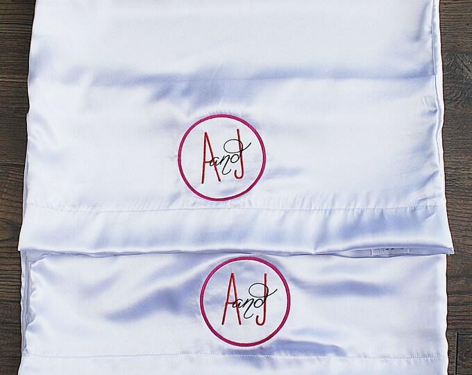 Satin Pillowcase, Monogrammed pillowcases, Set of two pillowcases, Wedding gift, Silk Pillowcase, Personalized Pillowcase