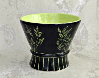 Footed  Bowl in Black and Yellow Pear