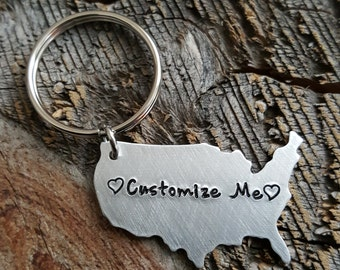 Customizable USA Keychain Design your own State Keychain Long Distance Relationship Gift Girlfriend Gift BFF Gift Going Away Gift LDR Gift
