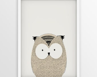 Owl Nursery Decor, Owl Bird Print, Illustration, Sketch, Wildlife, Doodle, Kids Decoration, Little Wisdom, Forest, Woodland Nursery Print