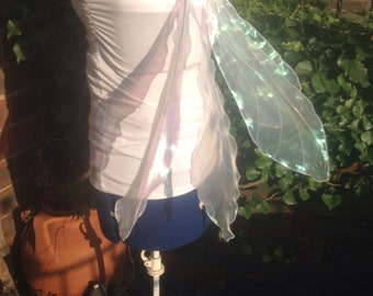 Realistic Foldable Strapless Poseable Fairy Wings, White Pearlescent Shimmery Fabric,