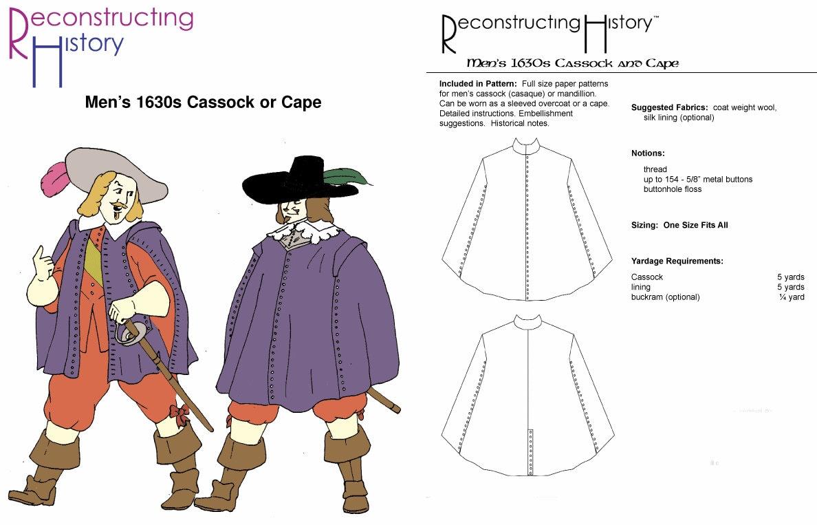 RC107 1630ern Männer Soutane und Cape Schnittmuster durch