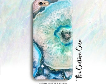 Turquoise Geode Gemstone Phone Case, Turquoise Blue Agate Phone Case, Iphone 4/5/5c/6/6+,6S, 6S+, Galaxy S3/S4/S5/S6/S6 Edge, S6 Edge+, Note