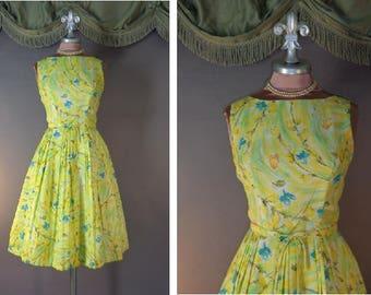 Vintage 50s dress 1950s SPRING FLOWERS yellow watercolor roses swirls full skirt dress