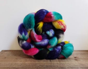 Superwash Bfl- bluefaced leicester- combed- wool top- roving- 4oz- Hand Painted-Hand Dyed- Witching Hour