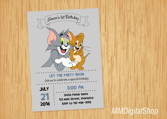 Tom and Jerry Birthday Invitation Printable