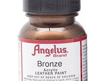 Angelus Acrylic Leather Paint-Metallic Bronze-Noncracking-1 OZ. Size-Use on Leather Cuffs and Leather Crafts-Metal Supply Chick