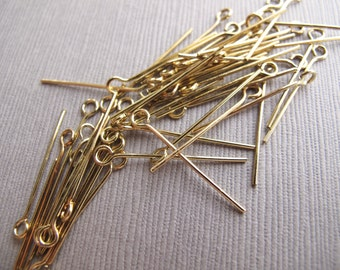 "50pcs Brass Eye Pins / Loop Pins 23mm / 1"" - Destash - CB-52VPSB-170-D"