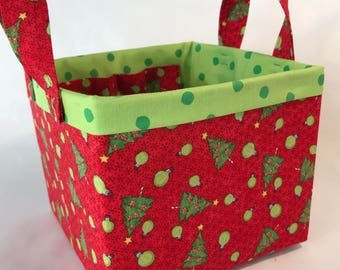 Fabric Bin / Fabric Caddie / Gift Box / Christmas Box / Christmas Gift / Sturdy Fabric Basket / Storage Bin / Winter Basket / Gift Basket