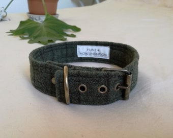 Dog Collars - Buckle dog collars - Digby Dog collar - Olive green wool dog collars with buckle