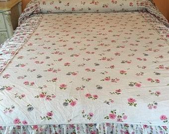 Vintage 1950's  Light Cotton Twin Bedspread
