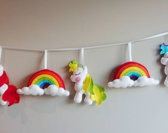 Unicorn and Rainbow garland, Felt Unicorn Garland, Felt Rainbow Garland, Felt Unicorn and Rainbow Garland