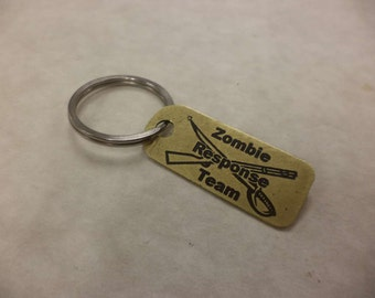 Zombie Response Team Etched Brass Keychain