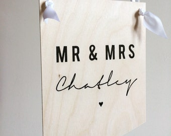 Personalised Wedding Day Plaque Bride Groom Newlyweds Decoration Sign With Ribbon