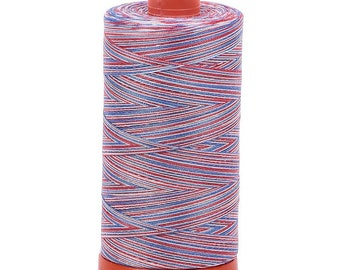 Aurifil 3852 Variegated 50W 1422 Yd Red/White/Blue Patriotic Thread