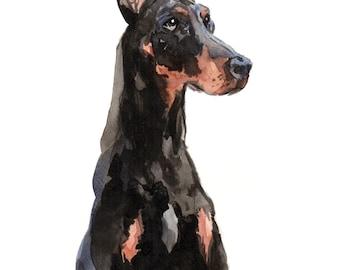 Doberman original watercolour painting