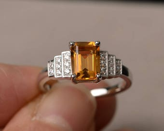 Natural Citrine Ring Wedding Ring Sterling Silver Ring November Birthstone Emerald Cut Yellow Gemstone Ring